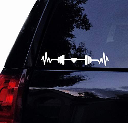 H421ld Love to Lift Barbell Decal, Heartbeat EKG Gym Fitness Weightlifter Vinilo Calcomanía para coche, portátil o ventana de coche