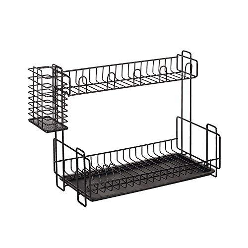 LIPENLI Drenaje estante for platos Escurridor y secado Panel de múltiples funciones for el fregadero de cocina Top, encimera, armario for cocina Escurridor (Color: Negro, Tamaño: 39x20x33cm)
