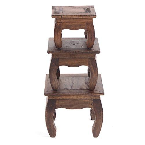 Vintage opium tafelset | 3 stuks, bruin, gerecycled hout | bijzettafels, bloemkrukje, salontafel