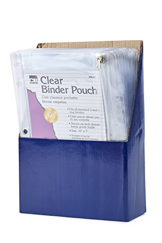 Charles Leonard Pencil Pouch for Binder, 1 Pocket with Zipper Closure, Clear Vinyl, 24-Pack (76380-ST)