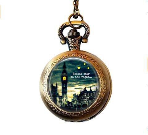 b2b Taschenuhr-Halskette mit englischsprachigem Zitat London Big Ben Peter Pan Til Morning Tinkerbell Peter and Wendy
