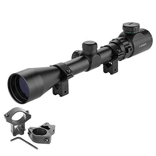 Aufun Zielfernrohr Luftgewehr 11mm Gewehrzielfernrohre mit Montage Schiene Montagen Rot Und Grün Punkt Visier Rifle Scope für Taktische Armbrust Jagd und Sport, 3-9x40EG-11mm