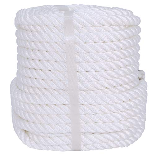 Polyester Rope (1/2 inch x 50 feet) Strong Pulling Nylon Rope for Swing, Towing, Climb and Knot, High Strength Hanging Card String, DIY Projects, Crafts White