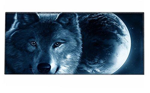 Silent Monsters Alfombrilla ratón Ordenador tamaño XXL (900 x 400 mm), Mouse Pad Grande, diseño Lobo, Adecuado para ratón de Oficina y para Gaming
