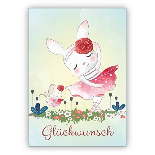 Schattige ballerina wenskaart met dansende haas en muis: Gefeliciteerd - voor verjaardag, examen, afstuderen • mooie wenskaart met envelop zakelijk & privé