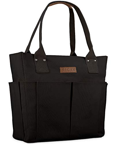 Canvas Tote Bags for Women  Nicav Large Utility Tote Bags with Pockets Zip Top for Teachers Nurses Students School Work