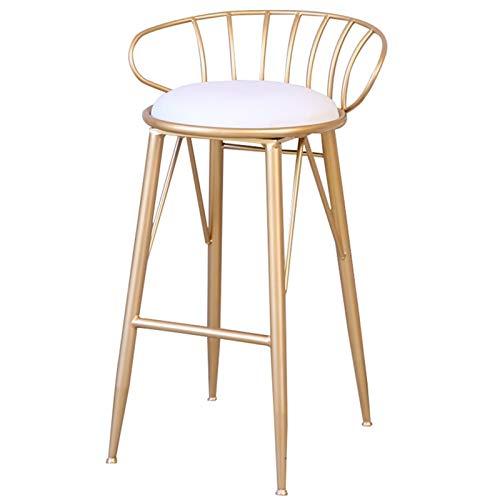 WHOJA Taburete de Bar Diseño Moderno Silla de Cocina Respaldo de Arco Asiento tapizado de PU Muebles de Bar Trona de Hierro Altura 65/75 cm Silla de Comedor (Color : Gold, Size : 65cm)