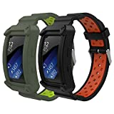 MoKo Watch Band Compatible with Gear Fit2 / Gear Fit2 Pro, [2-Pack] Soft Silicone Replacement Sport Band for Samsung Gear Fit 2 SM-R360 / Fit 2 Pro Smart Watch - Black & Red + Gray & Green