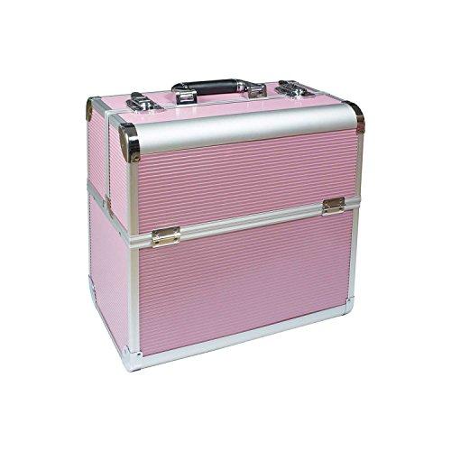 N&BF Profi Kosmetikkoffer groß | 35 x 22 x 36 cm | Beautycase Pink Harmonie | robuster Nagelkoffer aus Aluminium | Viel Stauraum | Aufklappbare Fächer auf zwei Etagen verteilt | pflegeleicht