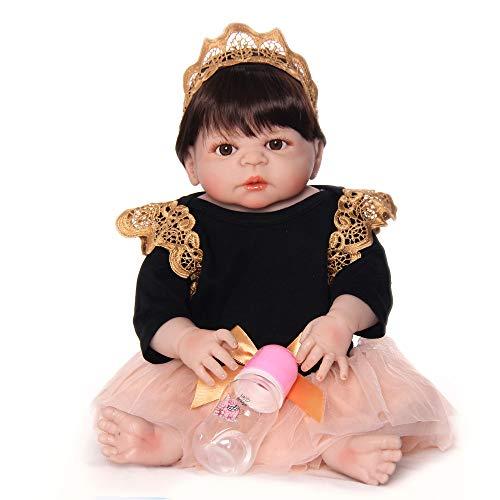 Unexceptionable-Dolls Muñecos bebé, 23 Pulgadas de Vinilo de Silicona Completo Hecho a Mano recién Nacido Princesa niñas muñeca de Juguete para la Venta niños Regalos de cumpleaños, Ojos Marrones
