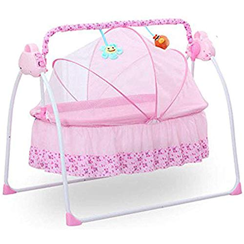 LOYALHEARTDY Baby Cradle Swing 3 Speed Electric Stand Crib Auto Rocking Chair Bed with Remote Control Infant Musical Sleeping Basket for 0-18 Months Newborn Babies, Mosquito Net+Mat+Pillow (Pink)