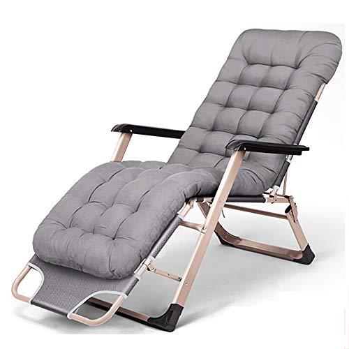 Relaxliege Liegestuhl, Verstellbar Freizeitliege, Gartenliege Klappbar Sonnenliege, Aluminiumrahmen Dreibeinliege mit 5 cm Dicker Matratze, Abnehmbares Kopfkissen, bis 200 kg belastbar, anthrazit,Gray