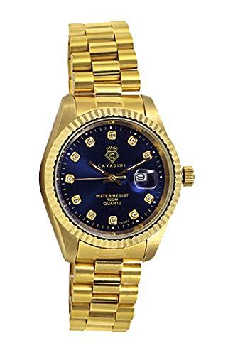 CAVADINI Leonardo Herren-Armbanduhr Edelstahl (Gold/blau)