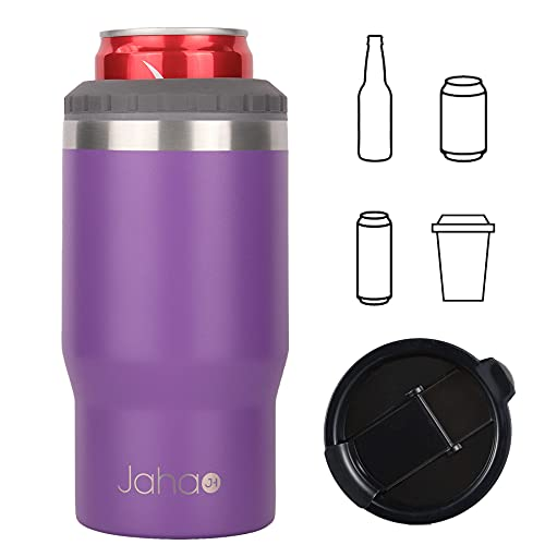 Jahao 4-in-1 Can Cooler/Tumbler, Stainless Steel Double-Wall Vacuum Insulated Beer Cooler/Can Holder/Slim Can Coolers for 12oz Cans, Slim Cans and Beer Bottles, or as a 14oz Travel Mug (Amethyst)