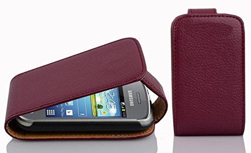 Cadorabo Custodia per Samsung Galaxy Pocket Neo in Lila Bordeaux - Protezione in Stile Flip di Similpelle Strutturata - Case Cover Wallet Book Etui