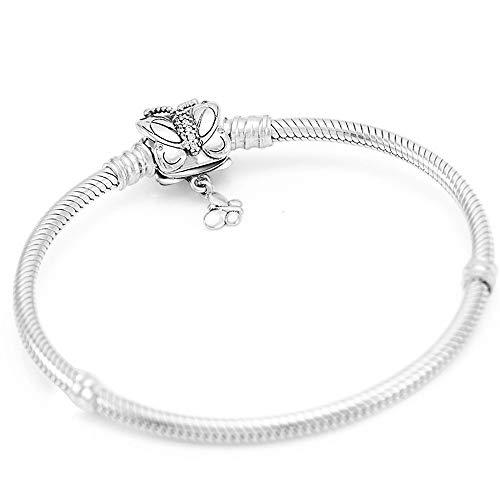 DSJTCH Banco de Mariposa S925 Pulsera de Plata Brazalete de Cadena de Serpientes for el Encanto de Plata esterlina Europea Bead Mujeres Joyería de la joyería de la joyería (Length : 17CM)