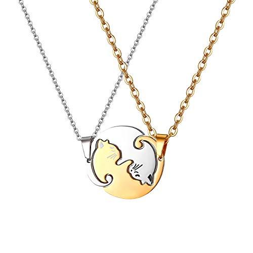 collana donna gatto JewelryWe Gioielli 2 Pezzi Collana Uomo Donna Coppia Fidanzati Amicizia Ciondolo Gatto in Acciaio Inossidabile DIY