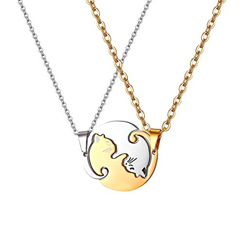 JewelryWe Gioielli 2 Pezzi Collana Uomo Donna Coppia Fidanzati Amicizia Ciondolo Gatto in Acciaio Inossidabile DIY, Regalo San Valentino Natale, Yin And Yang, Taichi Matching, Black And White