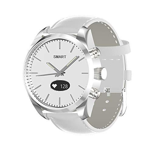 Reloj inteligente híbrido, resistente al agua, reloj de cuarzo con OLED, carcasa de aleación, correa de cuero, HR/presión...