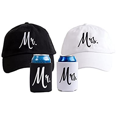Ann Arbor T-shirt Co. Mr. & Mrs. | Matching Newlywed Wedding Baseball Caps and Beer Holder (Coolie)
