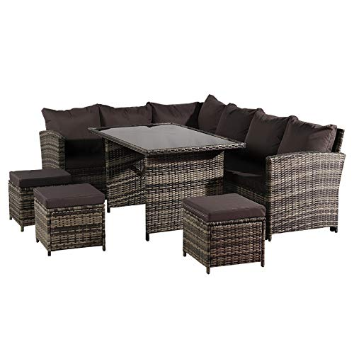 Light Rattan Furniture Set, Outdoor Sofa Dining Table 9 Seat, with Free Rain Cover, Black Silk Screen Glass, Dark Grey Sofa Cover, for Indoor Outdoor Patio