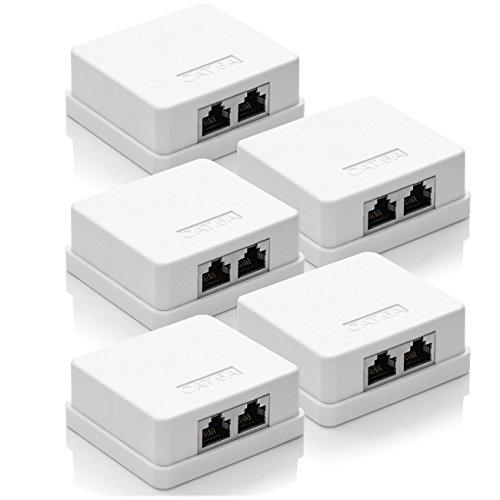 deleyCON 5X CAT 6a Netzwerkdose 2X RJ45 Buchse FTP geschirmt Aufputz Montage 10 Gbit Ethernet Netzwerk LAN Dose RAL 9003 Weiß