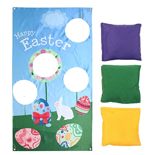 BESPORTBLE 1 Set Baseball Toss Games with 3 Bean Bags Throwing Easter Bunny Banners Indoor Outdoor Bean Bag Toss Game Easter Sport Party Decorations Supplies