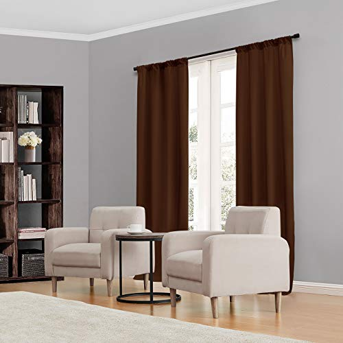 """ECLIPSE Kendall Thermal Insulated Single Panel Rod Pocket Darkening Curtains for Living Room, 42"""" x 84"""", Chocolate"""