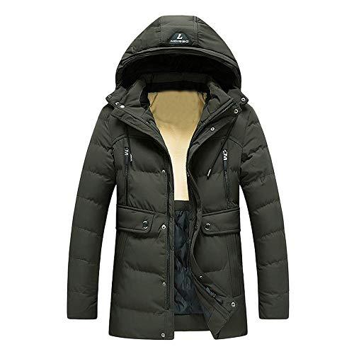 KPPONG Herrenjacke Baumwolle gefütterte, warme Kapuzenjacke mit Reißverschluss Fester Fleece-Mantel Grün XXX-Large