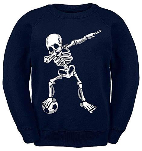 HARIZ Kinder Sweater Dab Skelett mit Fussball Dab Dabbing Tanzen Halloween Inkl. Geschenk Karte Navy Blau 140/9-11 Jahre