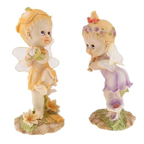 Tubayia 1 par de Flores Hada con béisbol Figura Decorativa Estatua decoración para casa, jardín, Boda, etc.