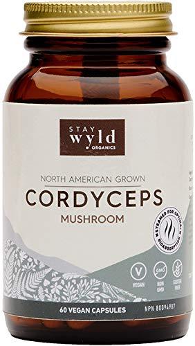 Stay Wyld Organics Cordyceps Mushroom Vegan Capsule Supplement - Immune System, Respiratory Support, Improve Athletic, Hormone Regulation - Women, Men   (60 Capsules)