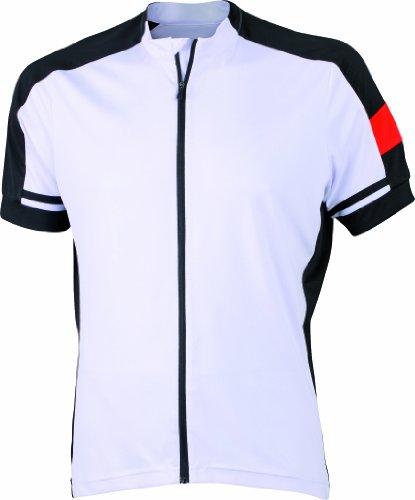 James & Nicholson Herren Sport Top Radtrikots Bike-T Full Zip weiß (white) Large