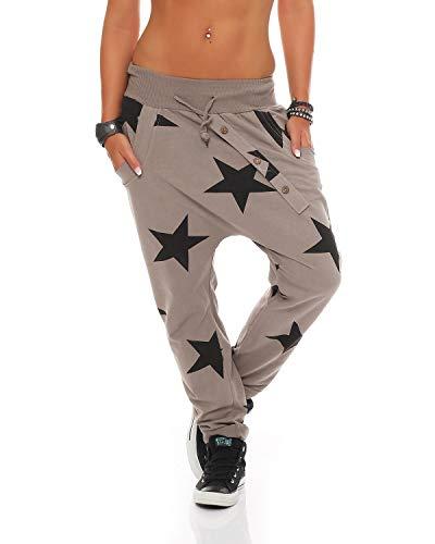 ZARMEXX, pantaloni da Donna modello boyfriend con bottoni, adatti per Jogging e Yoga, in Cotone Marrone cappuccino