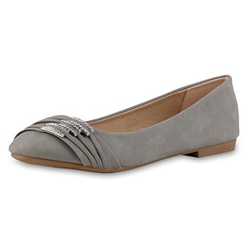 SCARPE VITA Damen Ballerinas Strass Slipper Flats Schuhe Leder-Optik 160376 Hellgrau Strass 37