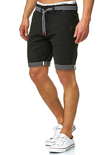 Indicode Herren Acton Chino Shorts mit Kordel-Gürtel aus 100% Baumwolle | Kurze Hose Regular Fit Bermudas Sommerhose Herrenshorts Short Men Pants Chinohose kurz für Männer Black M