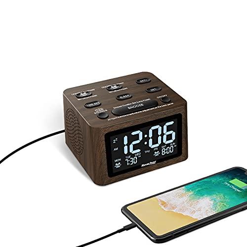 REACHER Dual Wecker Holzoptik mit weißes Rauschen Maschine, 6 Wecktöne, 12 beruhigende Sound für den Schlaf, einstellbare Lautstärke, USB-Ladegerät, Batterie-Backup, 0-100% Dimmer für das Schlafzimmer