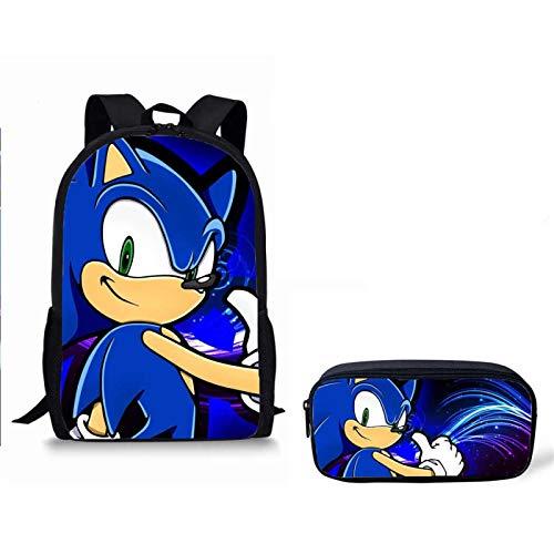 Mochila de anime 2 uds mochilas escolares sonic the hedgehog estampado mochila escolar para niñas niños mochila ortopédica mochilas para niños mochila