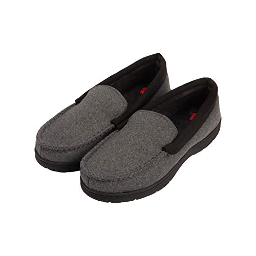 Hanes Men's Slippers House Shoes Moccasin Comfort Memory Foam Indoor Outdoor Fresh Iq, Charcoal, Large
