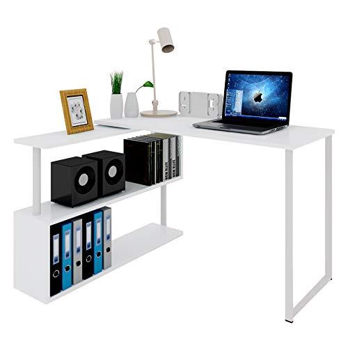 WOLTU Scrivania Angolare con Mensola a 3 Ripiani Girevole per Ufficio Tavolo Porta PC in Legno Colore Bianco TS65ws