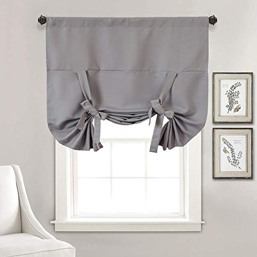 Grey Tie Up Kitchen Valances for Windows, Blackout Farmhouse Curtains Room Darkening Balloon Thermal Insulated Rod Pocket Window Treatments and Drapes for Bedroom Nursery Living Room 63 Inch Length