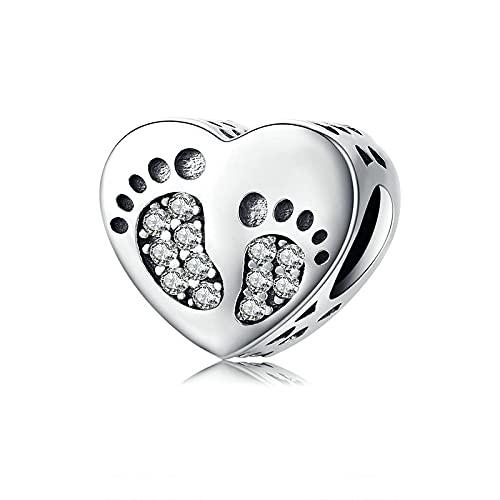 LIJIAN DIY 925 Sterling Jewelry Charm Beads Huellas Genuinas Corazón Zircon Colgante Hacer Originales Pandora Collares Pulseras Y Tobilleras Regalos para Mujeres