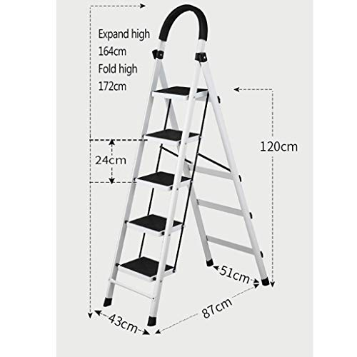 Klapptritt, 3-Stufen- / 4-Stufen- / 5-Stufen-Stahlklappleiter, Haushalts-Trittleiter, klappbarer Metall-Trittleiter, rutschfester, praktischer Fußhocker (Color : C, Size : 5-Step Ladder)