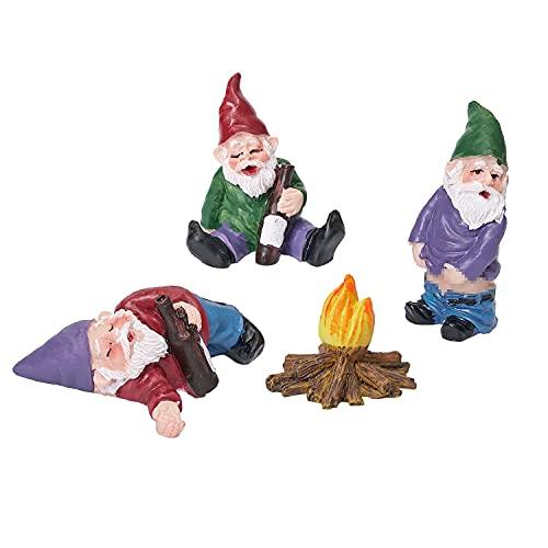 Mini gnomi da Giardino, LUOWAN Set di 4 Il Gnome del Giardino, Gnomi in Resina da Giardino in Miniatura,per Giardino Fatato, Decorazione per Interni ed Esterni, Regalo