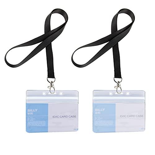 JZZJ -Card Holder-01, Funda con cordón para tarjetas, para negocio, exposición y oficina (Juego de 10 piezas)