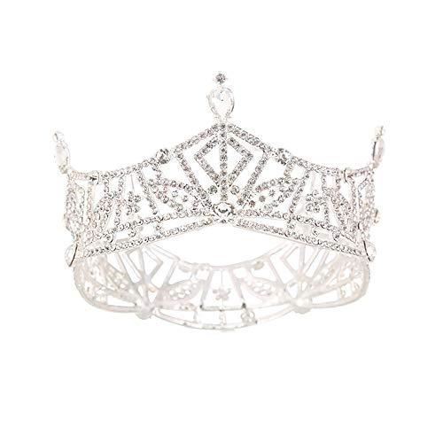 YTGUEVKDH Aleación de Moda Novia Boda Tocado Princesa círculo Completo Ronda Diadema Vintage Rhinestone Artificial Corona
