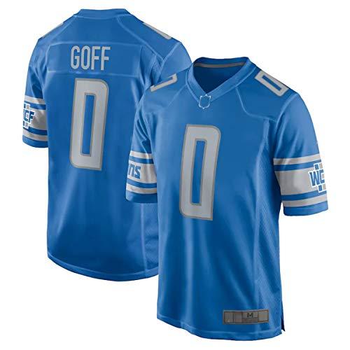OYEO Camisetas de fútbol americano para hombre Jared Detroit Azul, NO.0 Lions Goff Game Jersey