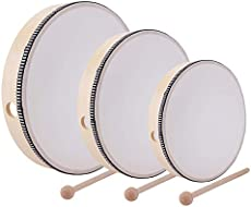 Foraineam 12 Inch & 10 Inch & 8 Inch Hand Drum Kids Percussion Wood Frame Drum with Drum Stick