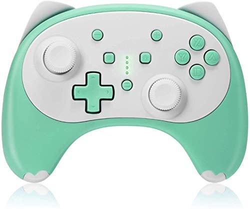 KINGEAR Mandos Nintendo Switch, Regalos Originales para Hombre Mando Inalambrico Nintendo Switch, Regalos Originales Pro Controller Switch Encantador Diseño de Gatito(Grün)