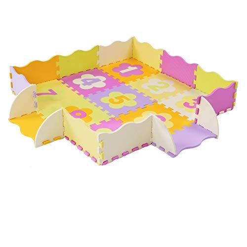 Locisne Tapis de jeu en mouasse Tapis de jeu doux pour enfants Tapis de jeu rampaant en mousse non toxique pour tapis de jeu Puzzle pour la maison ou l